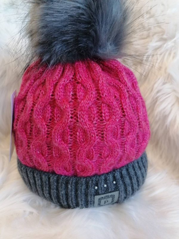 Perfect Hats Two Tone Dark Pink/ Grey with Beads