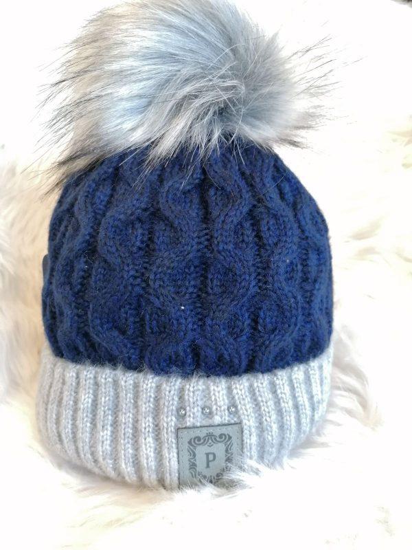 Perfect Hats OlgaTwo Tone Navy Grey Pom Pom