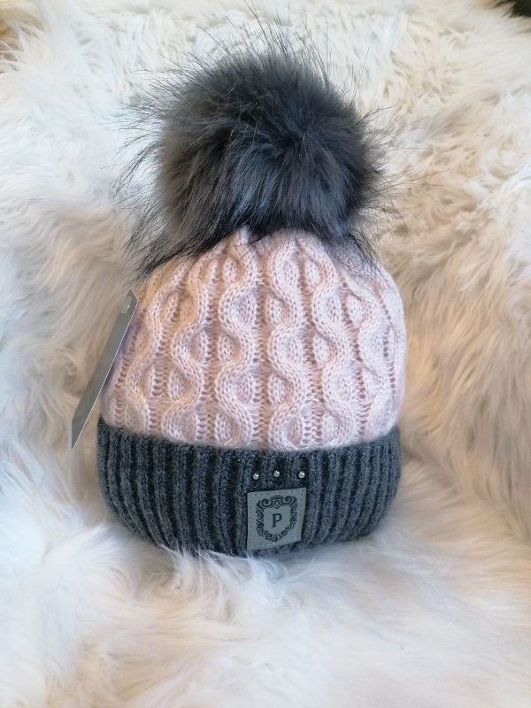Perfect Hats Two Tone Pink/ Grey with Beads