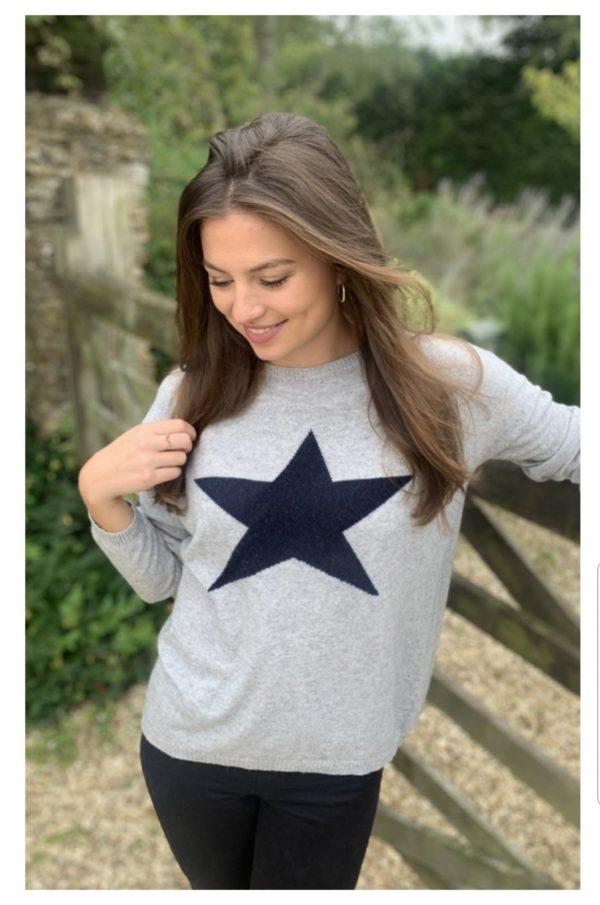 Luella Classic Star Jumper in Silver/Navy