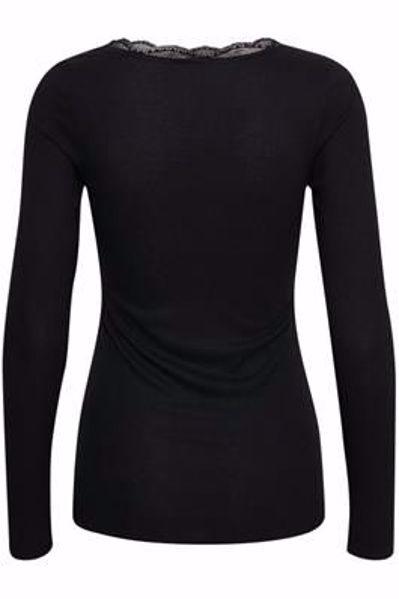 Cream Silky LS T-Shirt Pitch Black