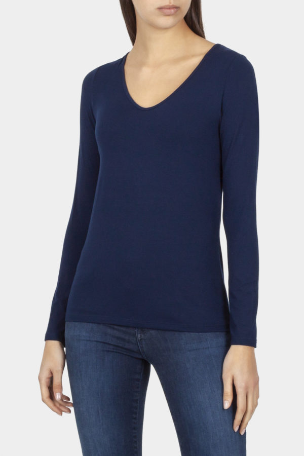 Cotton Bros V-Neck Marine Long Sleeve Tee