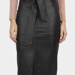 Cotton Bros Black Faux Leather Skirt