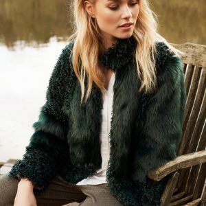 Cream Cassie Fur Jacket in fall green