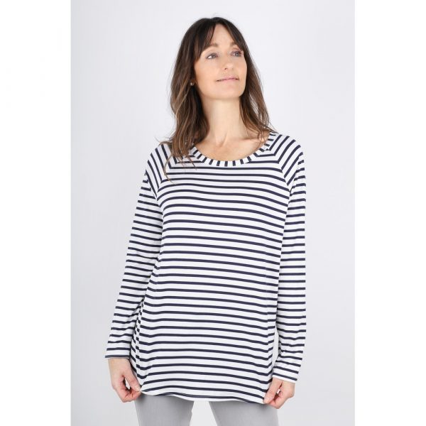 Chalk Tasha Top in Navy/White Stripe