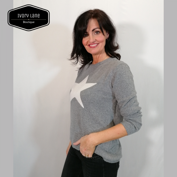 Luella Classic Star Jumper in Grey\Ivory
