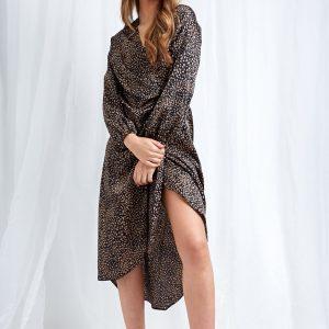 Pretty Lavish Vienna Wrap dress in black leopard