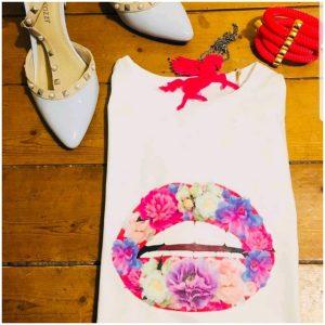 Gina Potter Floral Lips T-Shirt