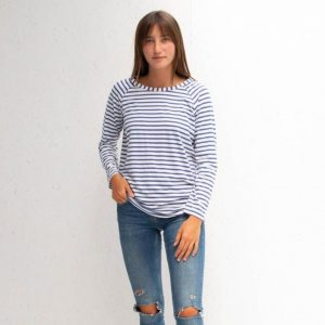 Chalk Tasha Top in Navy/White Stripe