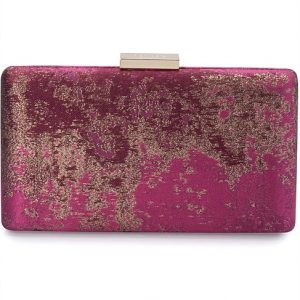 Olga Berg Jazz Jacquard splatter two-tone clutch in magenta
