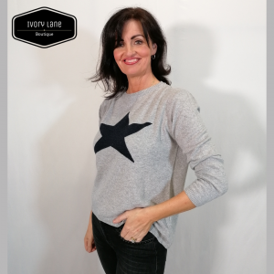 Luella Classic Star Jumper in Silver/Navy