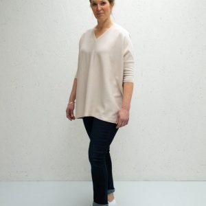 Chalk Clothing Clara V-Neck Jumper in Stone