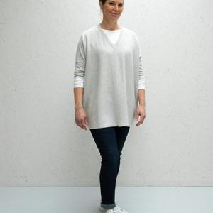 Chalk Clothing Clara V-Neck Jumper in Silver