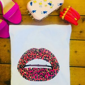 Gina Potter Pink Leopard Lips T-Shirt