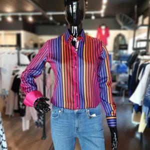CLaudio Lugli Ladies Rainbow Solid Stripes Shirt