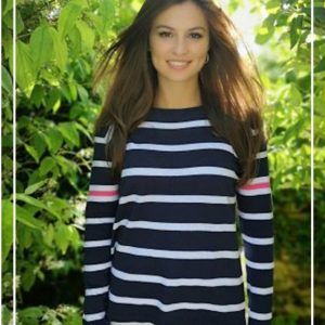 Luella Maddie Cotton Stripe Jumper Navy/ White/ Hot Pink