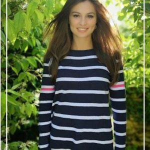 Luella Maddie Cotton Stripe Jumper Navy/ White/ Hot Pink