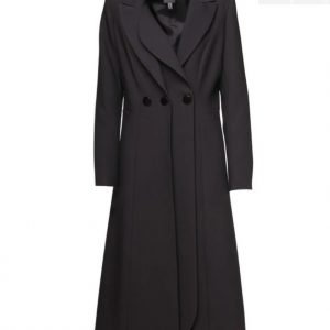 Access Fashion Three Button Black Midi Coat