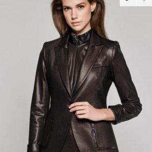 Access Fashion Bronze Shine One Button Blazer