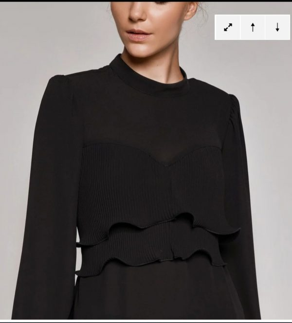 Access Fashion Black Pleat Wrap Blouse