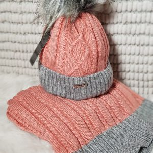 Perfect Hats & Scarf Set in Peach
