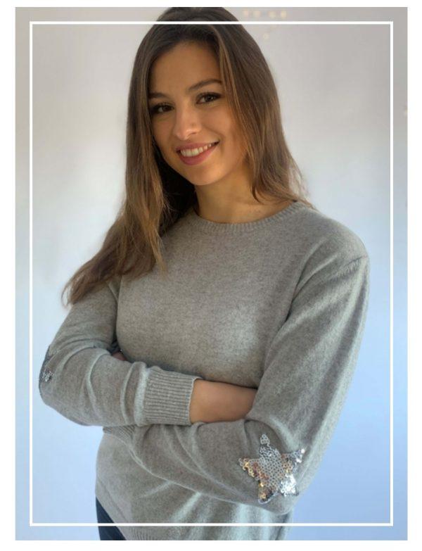 Luella Penny Sequin Jumper in Grey