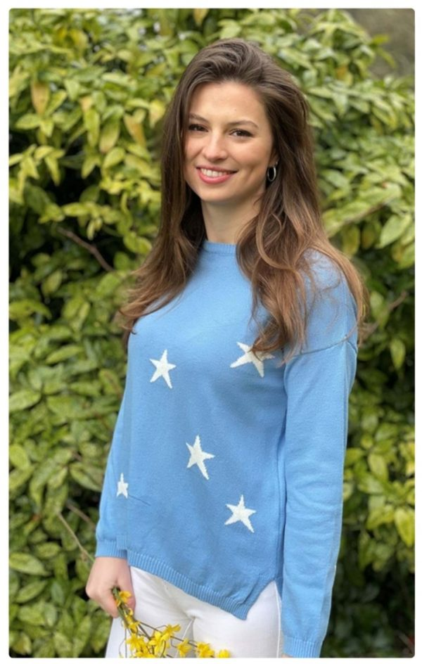 Luella Scatter Star Cotton Jumper in Azure Blue/White