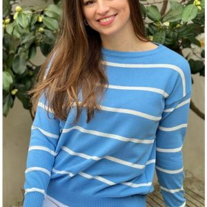 Luella Clara Cotton Stripe Jumper in Azure blue/White