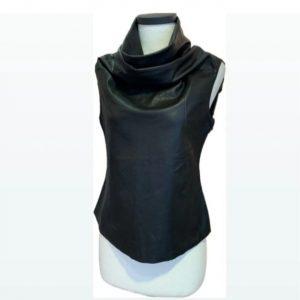 Cigno Nero Linda Leather Sleeveless Top