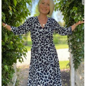 Luella Eden Wrap Spot Print Dress in Navy/White