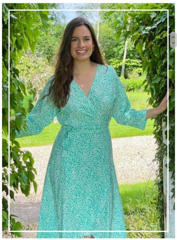 Luella Eden Wrap Spot Print Dress in Mint/White