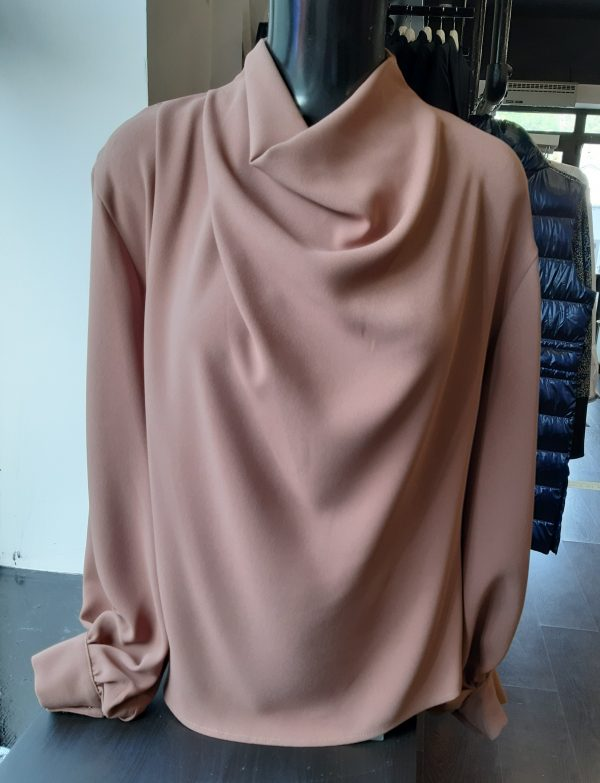 Access Fashion Drape Detail Camel Blouse with Puff Sleeves