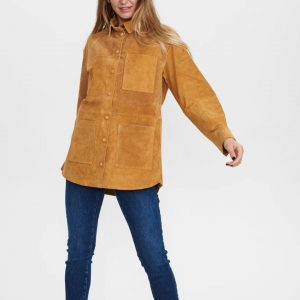 Numph NuBenja Leather Shirt Cathay Spice