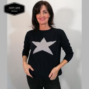 Luella Cashmere Star Jumper Navy/ Silver