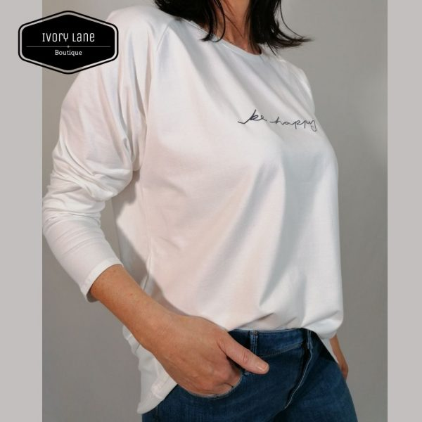 Chalk Clothing Robyn Be Happy White Top