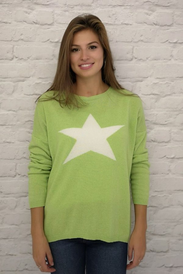 Luella Classic Star Jumper in Lime/ Ivory