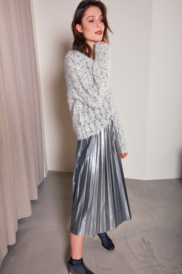 Soaked in Luxury Kaida Silver Skirt