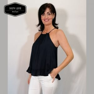 Access Fashion Navy Halter Neck Top