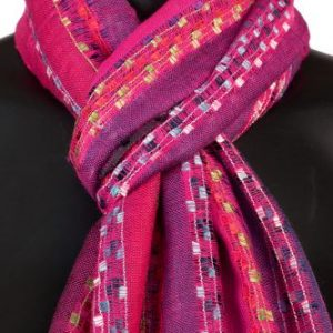 York Scarves Soft Striped Scarf in Fuschia
