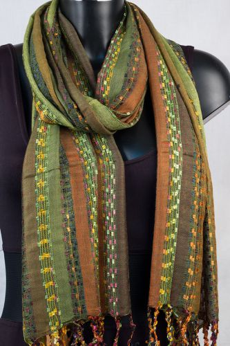 York Scarves Soft Striped Scarf in Olive