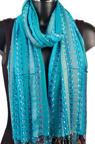 York Scarves Soft Striped Scarf in Turquoise