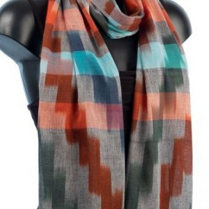 York Scarves Ikat Weave Scarf in Red