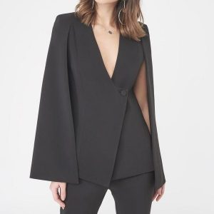 lavish alice cape jacket asymmetric hem 1