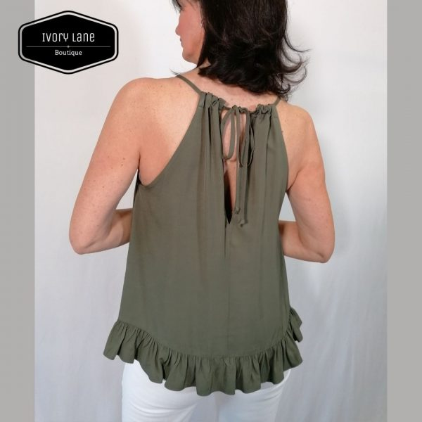 Access Fashion Olive Halter Neck Top