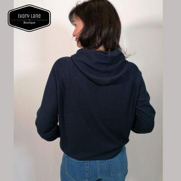 Chalk Super-soft Casual Knit Hannah Hoodie in Navy