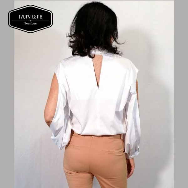 Access Fashion White Poplin Slit Sleeve Shirt