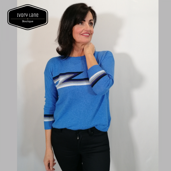 Luella Knitwear Ziggy Sea Blue Multi Stripe