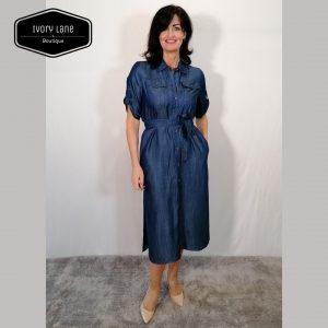 Access Fashion Denim Dress with Side Slits