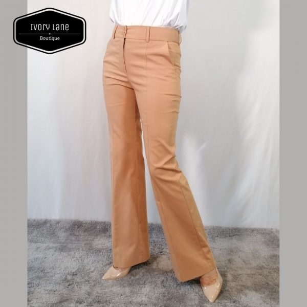 Access Fashion Camel Trousers with Flared Hem