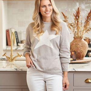 Luella Cashmere Classic Star Dove/Ivory Knit